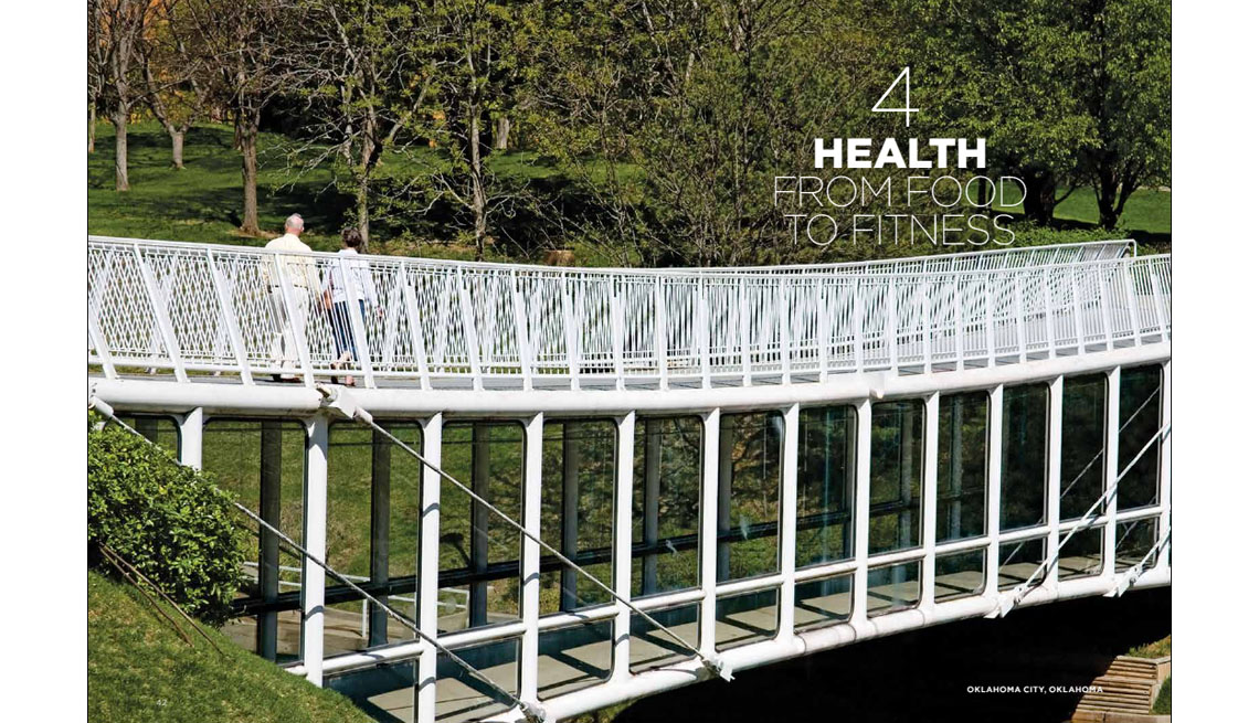 Walking Bridge With Couple Crossing In Park, Outdoors, Daylight, Trees, Health And Your Community, Where We Live, Livable Communities
