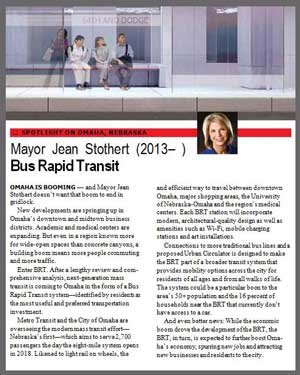 A page from the book Where We Live, featuring Omaha Mayor Jean Stothert