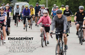 Bicyclists in Fort Worth, Texas, as shown in the Engagement chapter opener of the book Where We Live