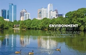 The Atlanta skyline and a pond as shown in the Environment chapter opener of the book Where We Live