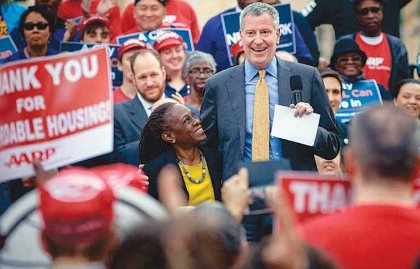 New York City Mayor Bill de Blasio at an affordable housing rally