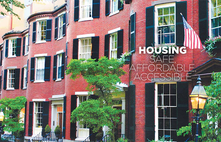 Brickfront townhomes in Boston, as shown in the Housing chapter opener of the book Where We Live