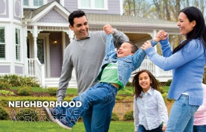 A couple and their children are shown at play in the Neighborhood chapter opener of the book Where We Live