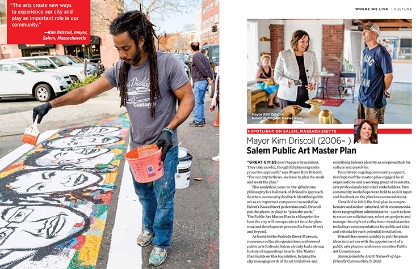 Pages from the Culture chapter of Where We Live feature a photo of a street artist as well as Kim Driscoll, Mayor of Salem, Mass.