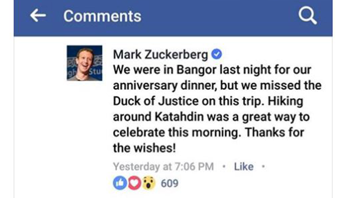 A Facebook post my Mark Zuckerberg mentions the Duck of Justice