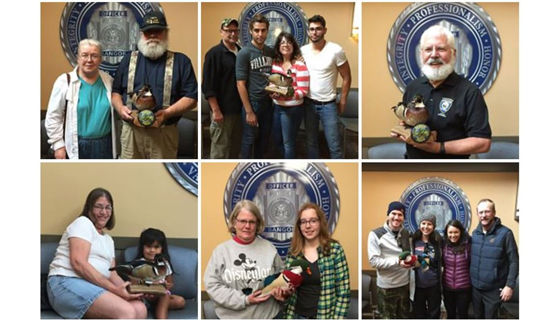 Fans visit the Bangor Police Department to pose with the Duck of Justice