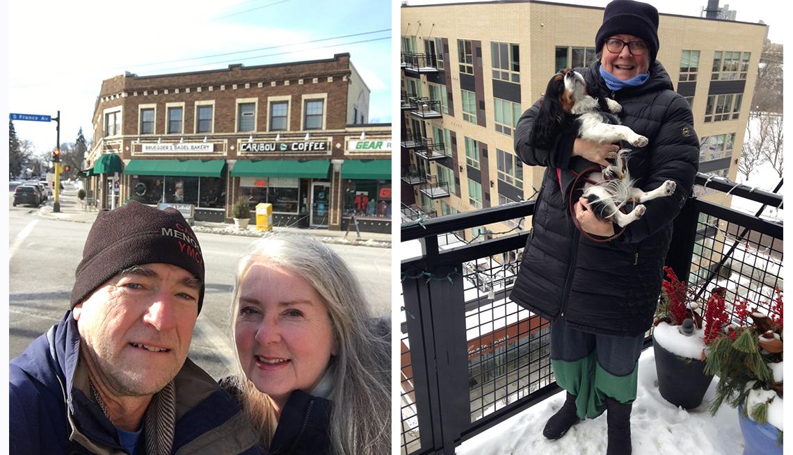 John Danicic and Kim Ode of Edina, Minnesota, and Lynette Lamb and dog on her apartment balcony