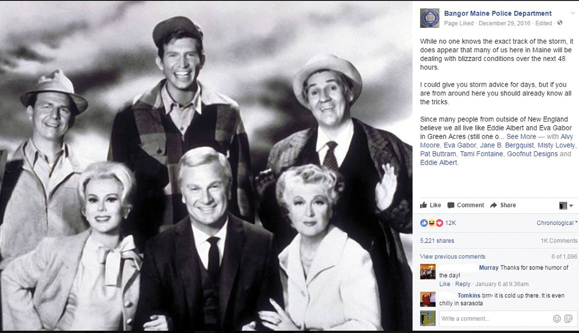 A Facebook post by the Bangor Police Department that's illustrated with a photo showing the cast of Green Acres
