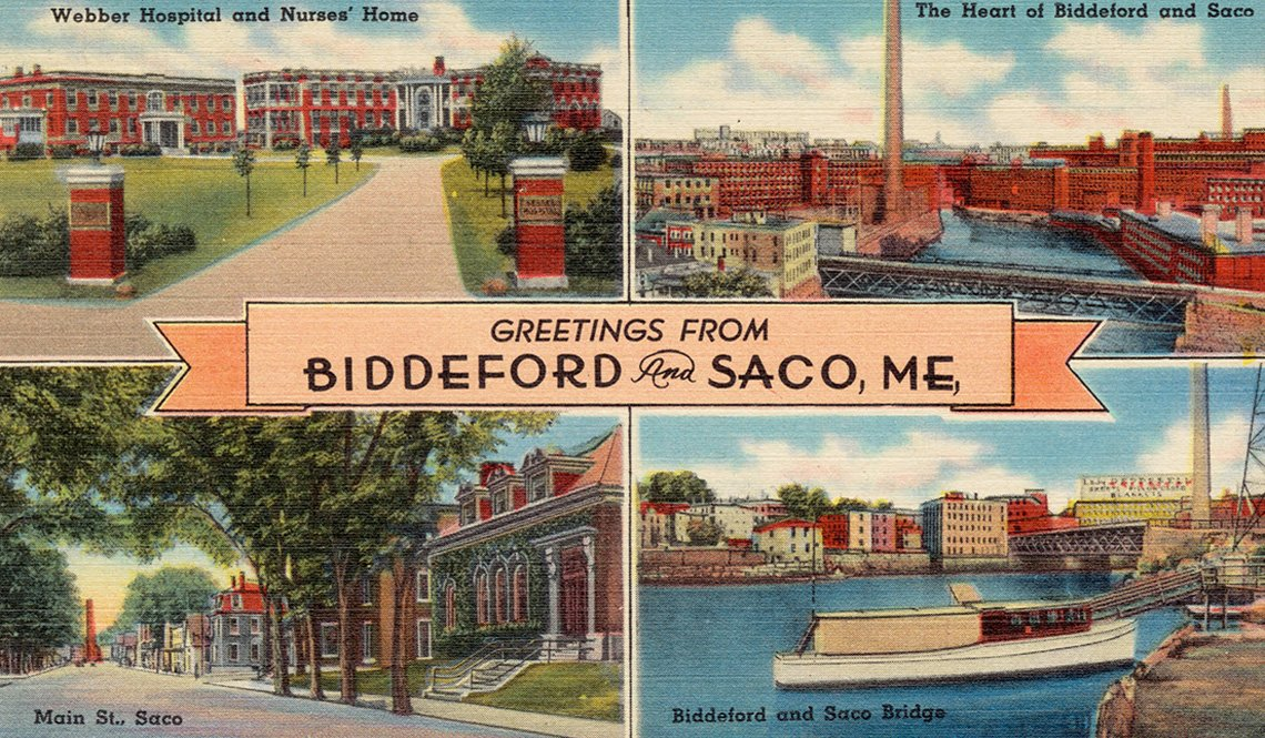 A vintage postcard says Greetings From Biddeford and Sace, ME