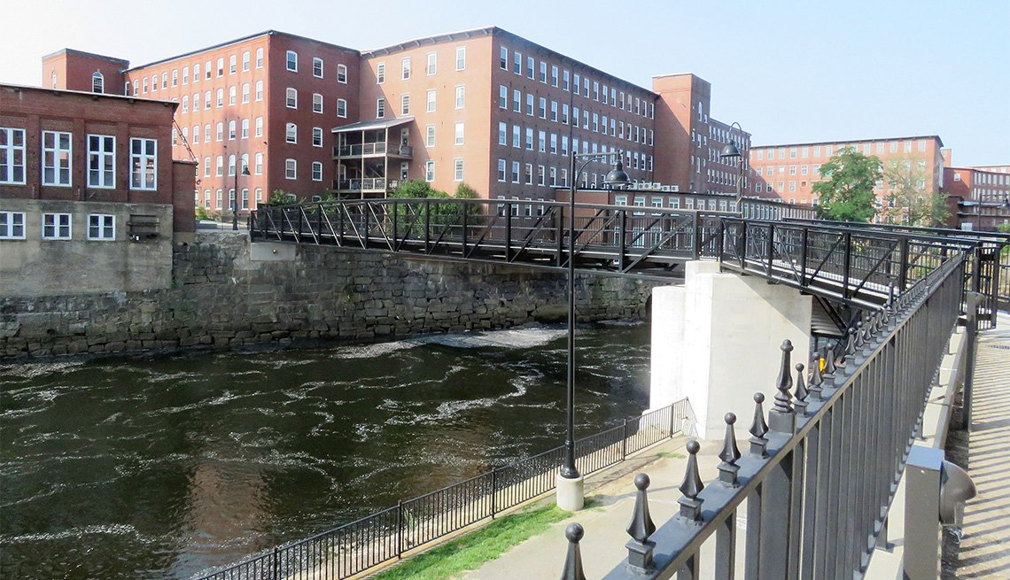 19th century mills along the Saco River in Saco and Biddeford, Maine, have been converted into housing