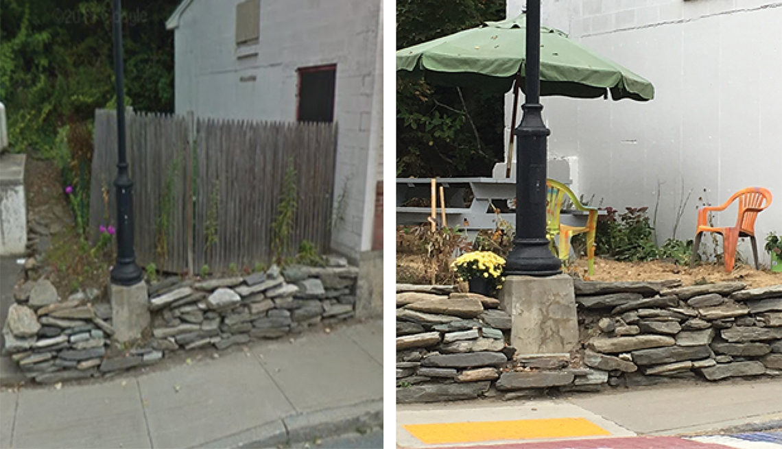 Before and after images show how an empty lot can become a sitting area.