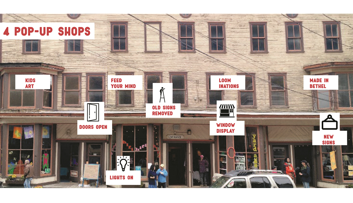 Active storefronts on Main Street, Bethel, Vermont