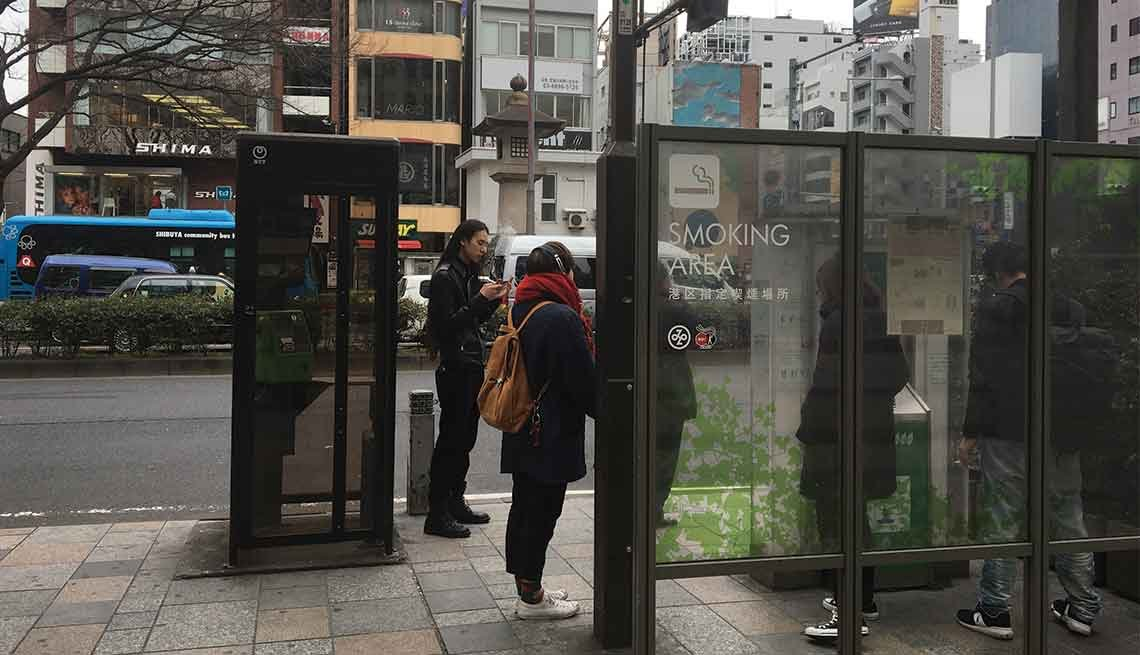 A designated smoking area on a Tokyo street.