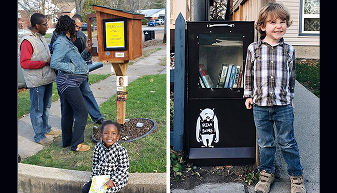 A young girl in St. Louis and a young boy in Calgary pose with Little Free Libraries