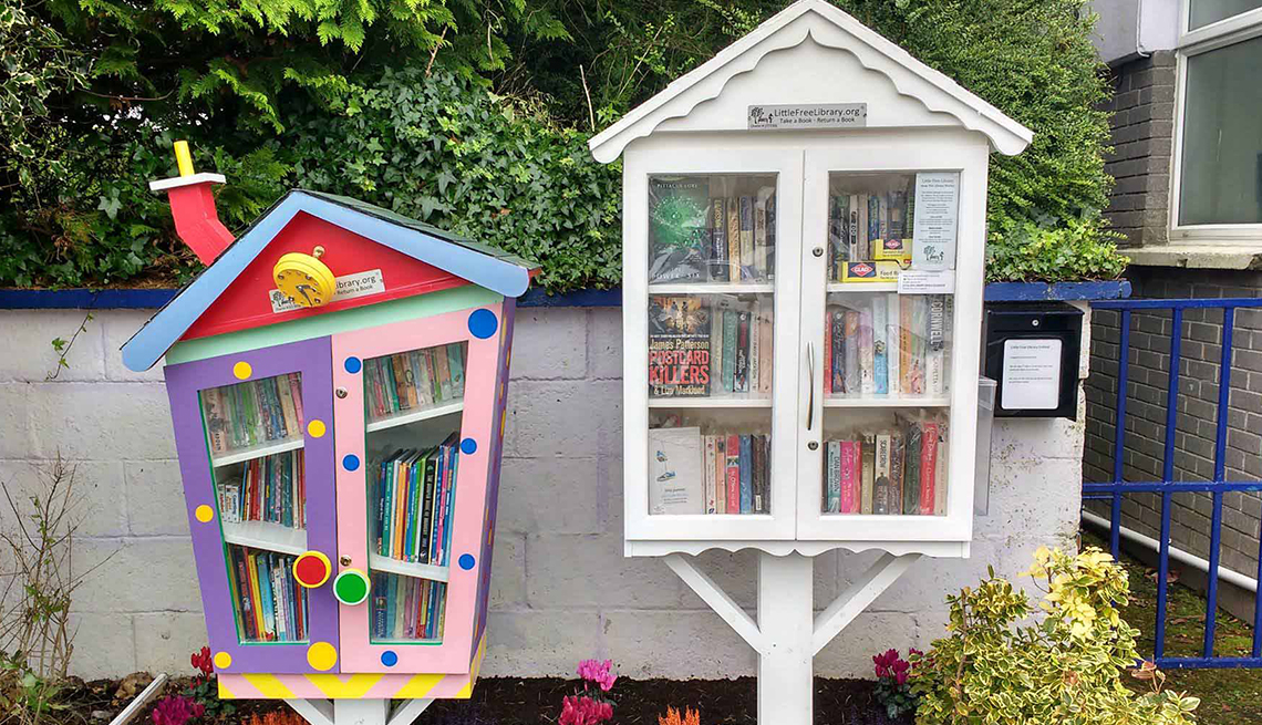 Two house-like Little Free Libraries, one colorful, one all-white, stand as neighbors.