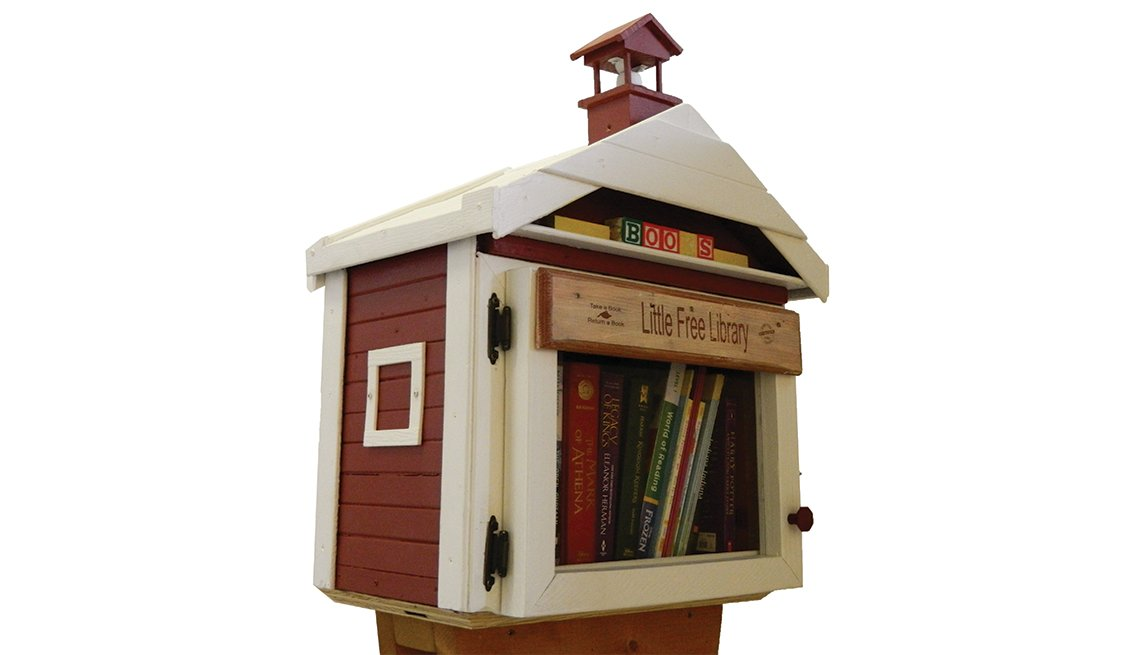 The original little library was modeled after a one-room schoolhouse