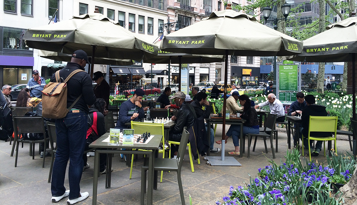 The board games area in New York City's Bryant Park