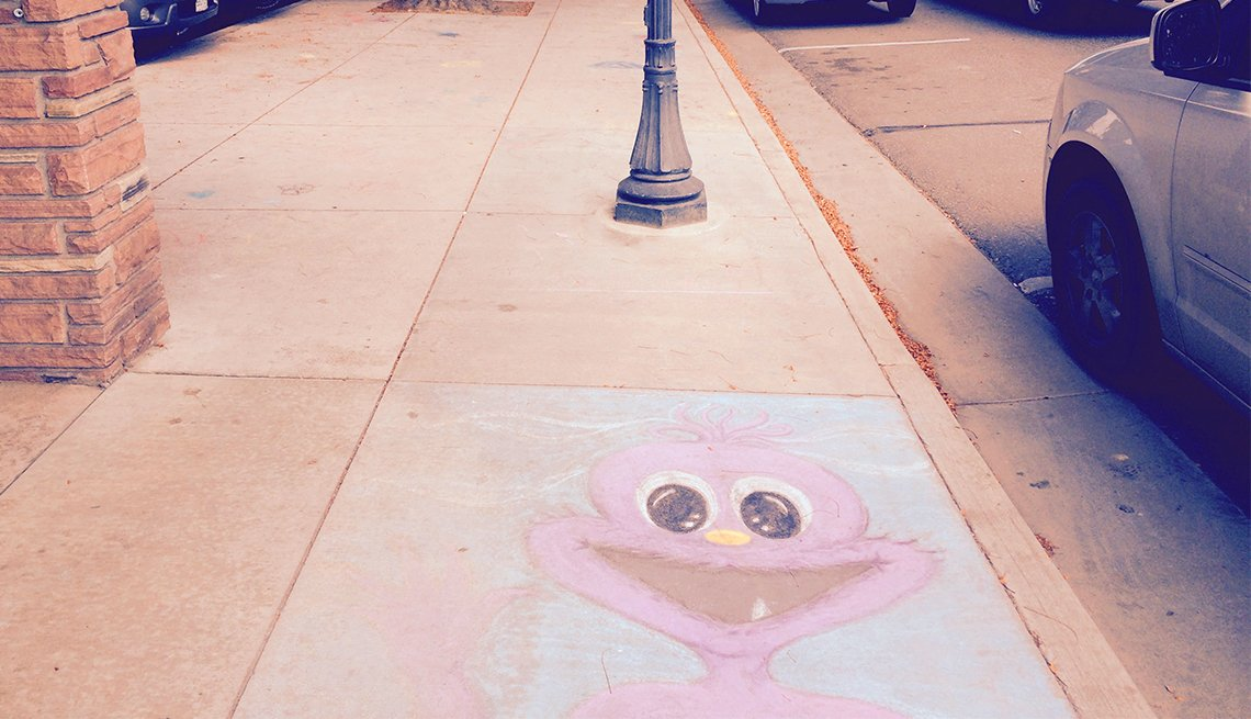 Sidewalk chalk art in Loveland, Colorado