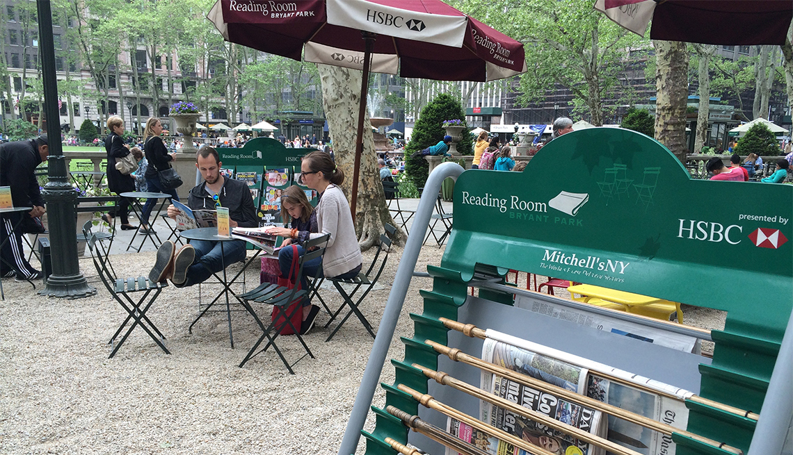 The Reading Room area of Bryant Park in New York City