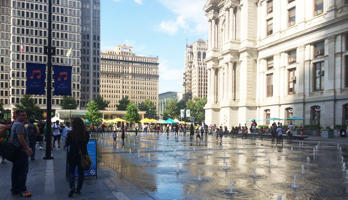 A plaza splash fountain outside the Philadelphia City Hall