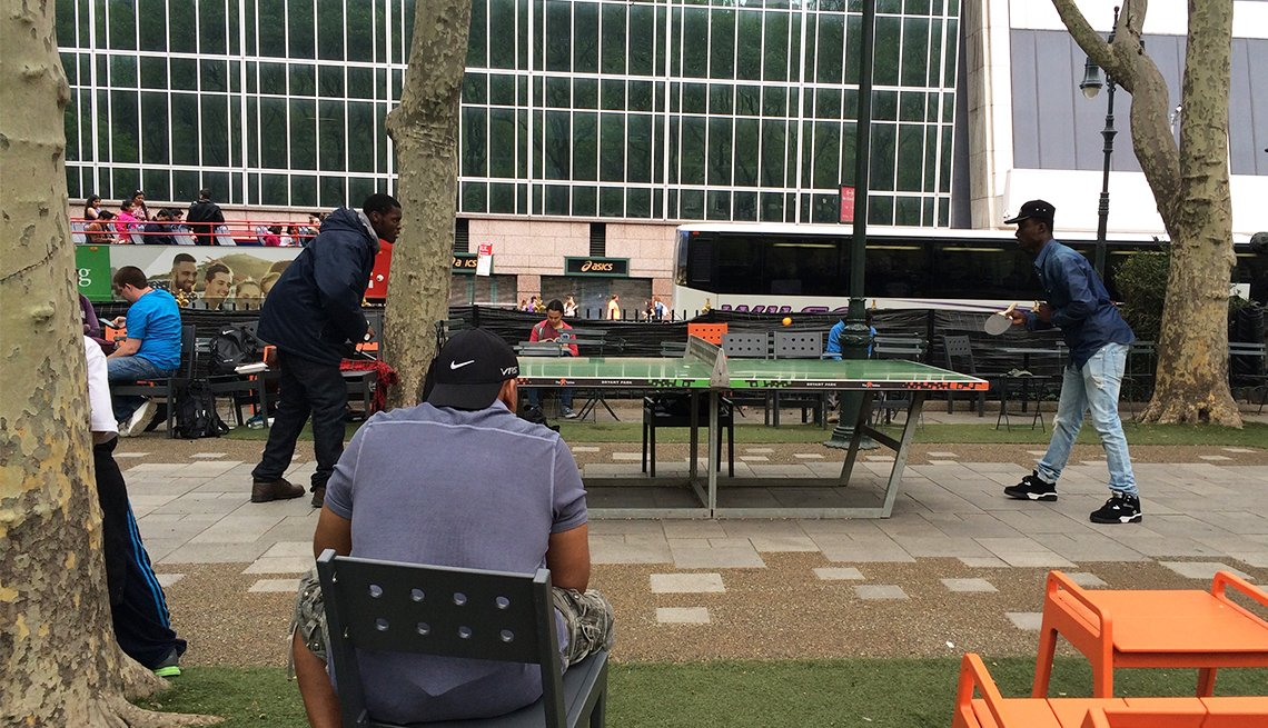 Public pingpong in New York City's Bryant Park