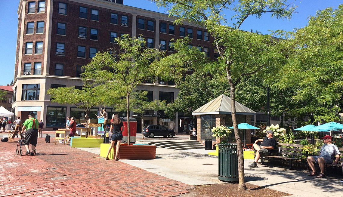 A downtown plaza in Portland, Maine