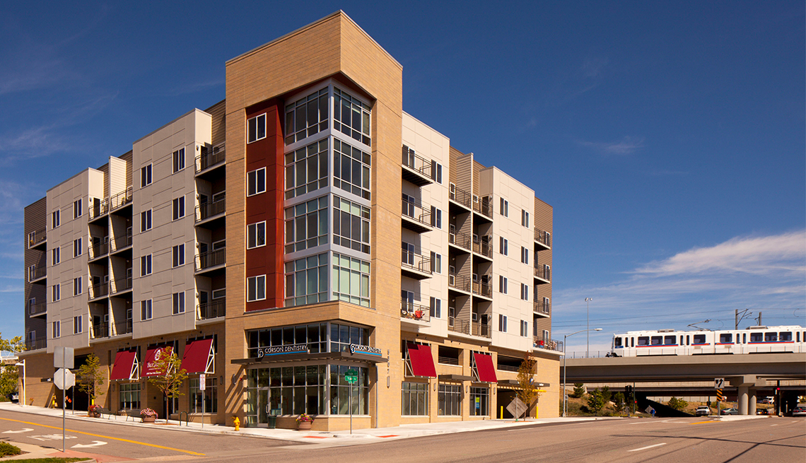 An exterior view of the Yale Station Apartments in Denver