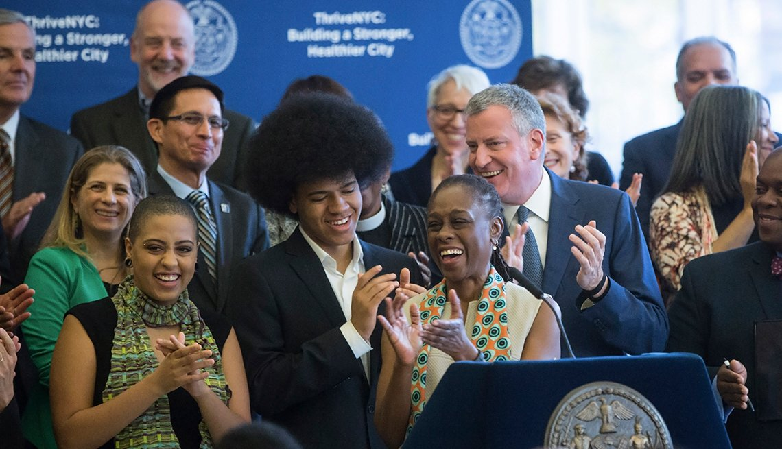 New York Mayor Mayor Bill de Blasio and First Lady Chirlane McCray, along with their son and daughter and city officials, announce the ThriveNYC program.