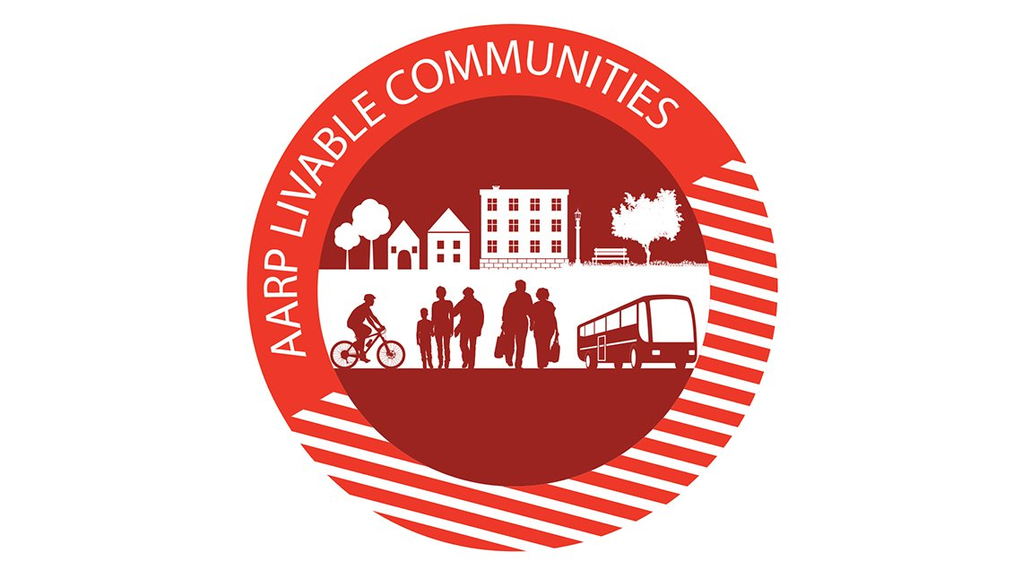 AARP Livable Communites, Logo, People, Transportation, Living, Red