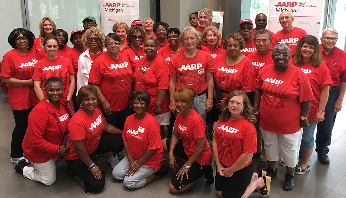 A team photo of AARP Michigan staff and volunteers.