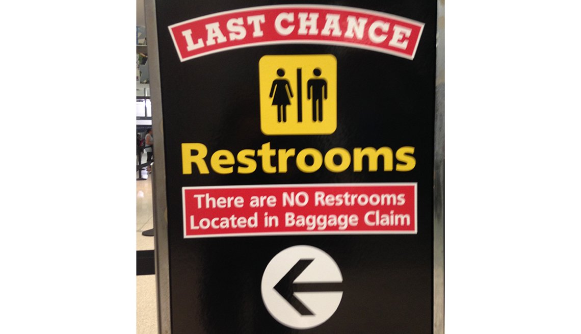 Restroom warning sign, BWI, Signs that Say So Much