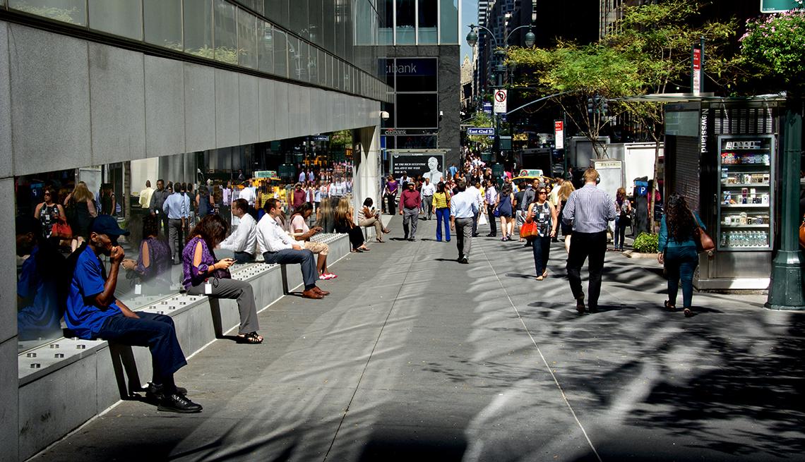 Benches, Sidewalk, New York City, AARP Livable Communities