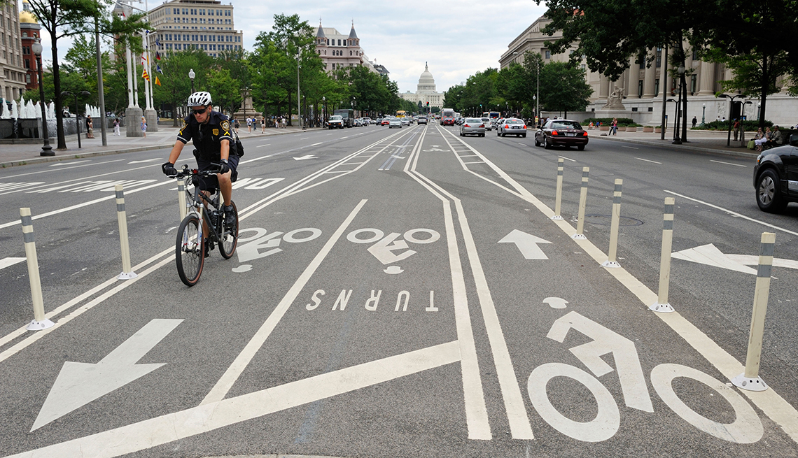 Bicycle rider in bike lanes, Washington, D.C., Age-Friendly Places