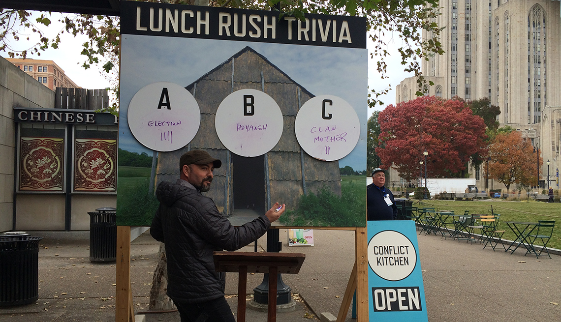History trivia game, Conflict Kitchen, Signs that Say So Much
