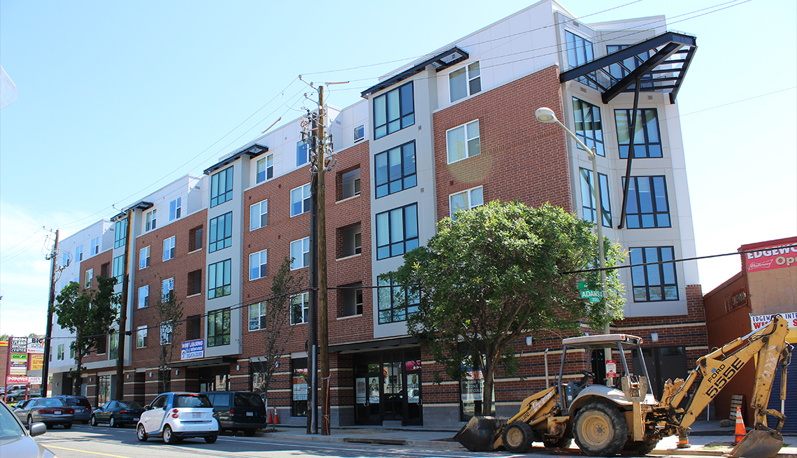 A new affordable housing apartment building near the Rhode Island Avenue Metro Station in Washington, D.C.