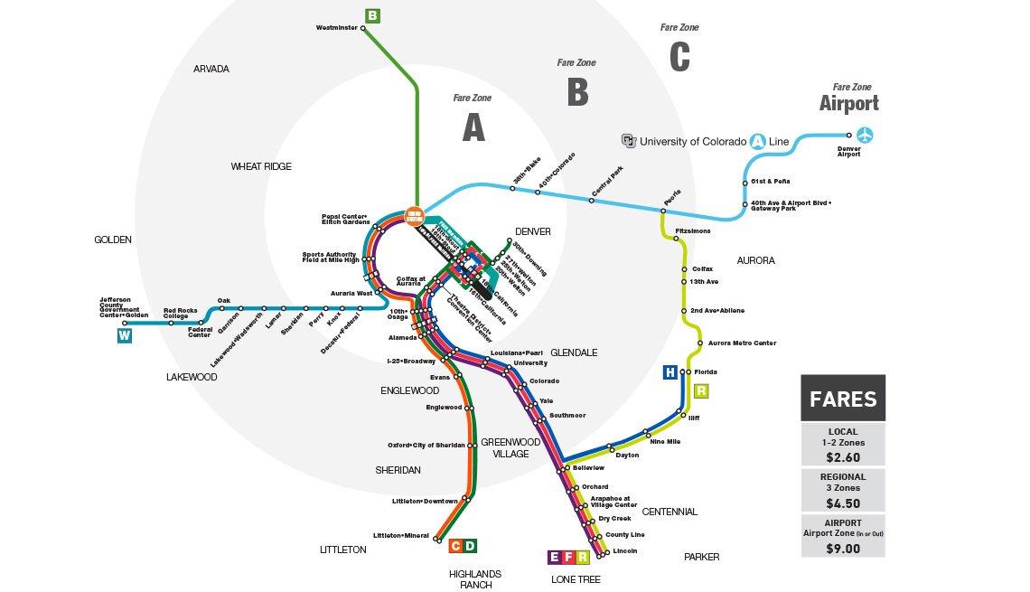 A map of Denver's RDT train line.