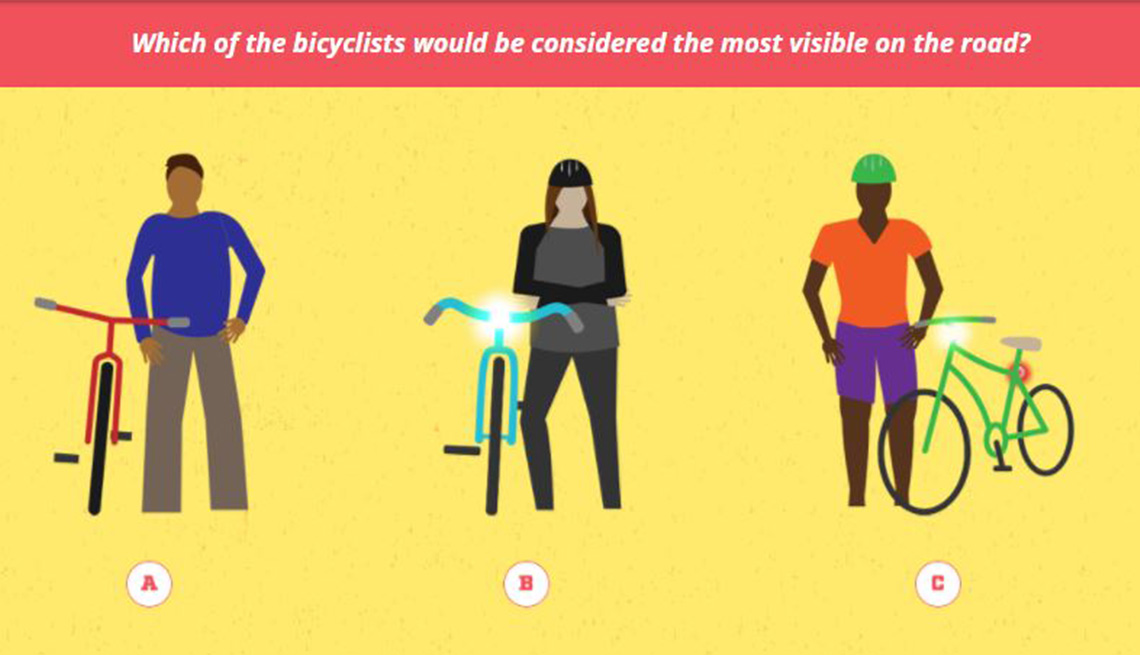 A quiz on the Driving Change website shows illustrations of three cyclists and asks which is dressed in a way that's most visible to drivers