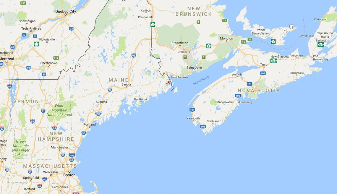 The red arrow marks the location of Eastport, Maine