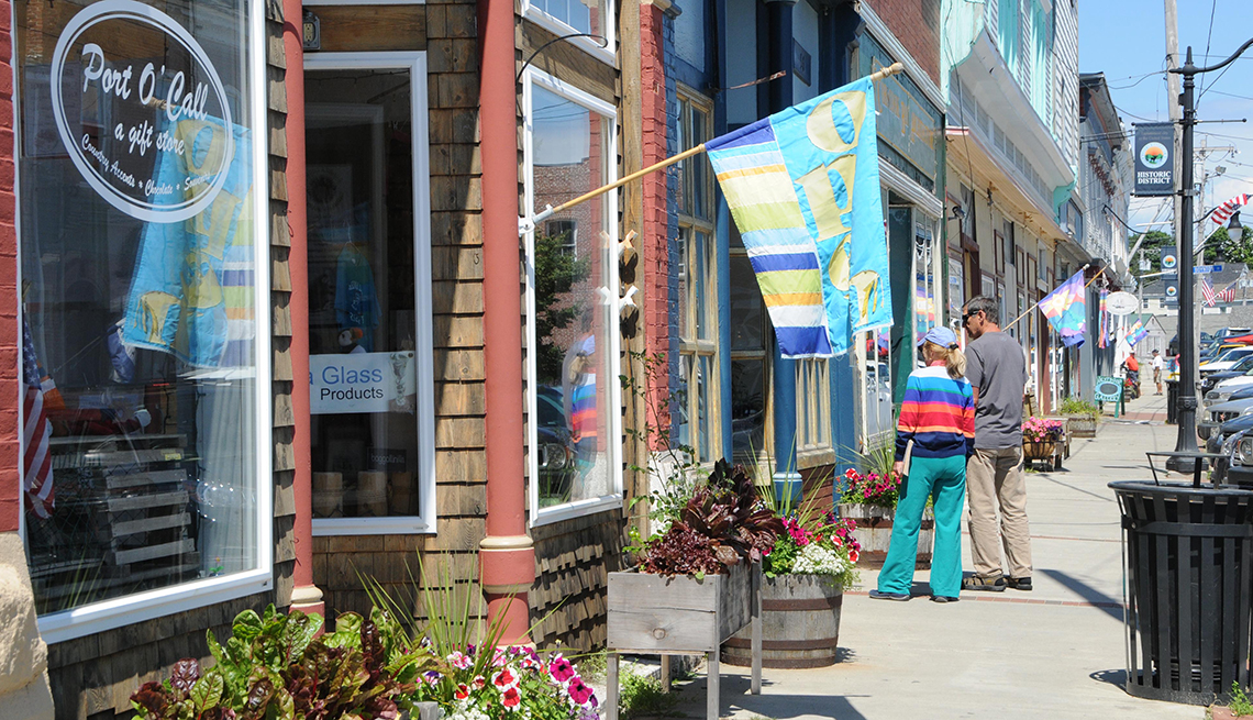 Shops along Water Street in Eastport, Maine