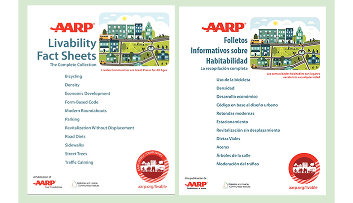 AARP Livability Fact Sheets in english and spanish