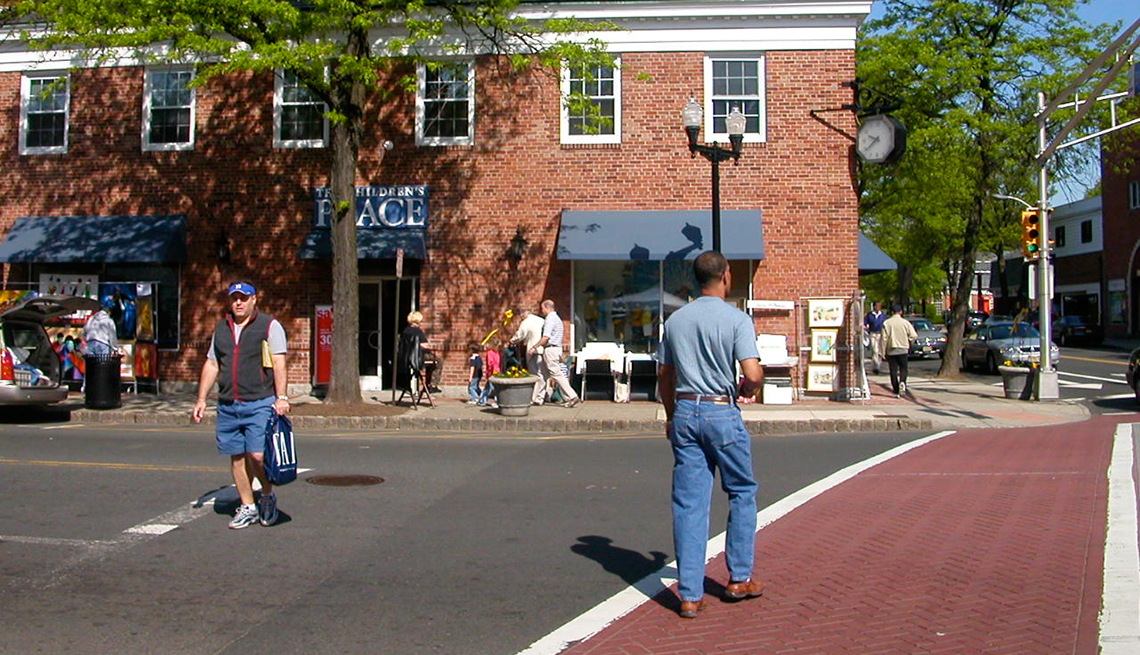 Brick crosswalks at the busy intersection of Elm and East Broad streets in downtown Westfield, New Jersey