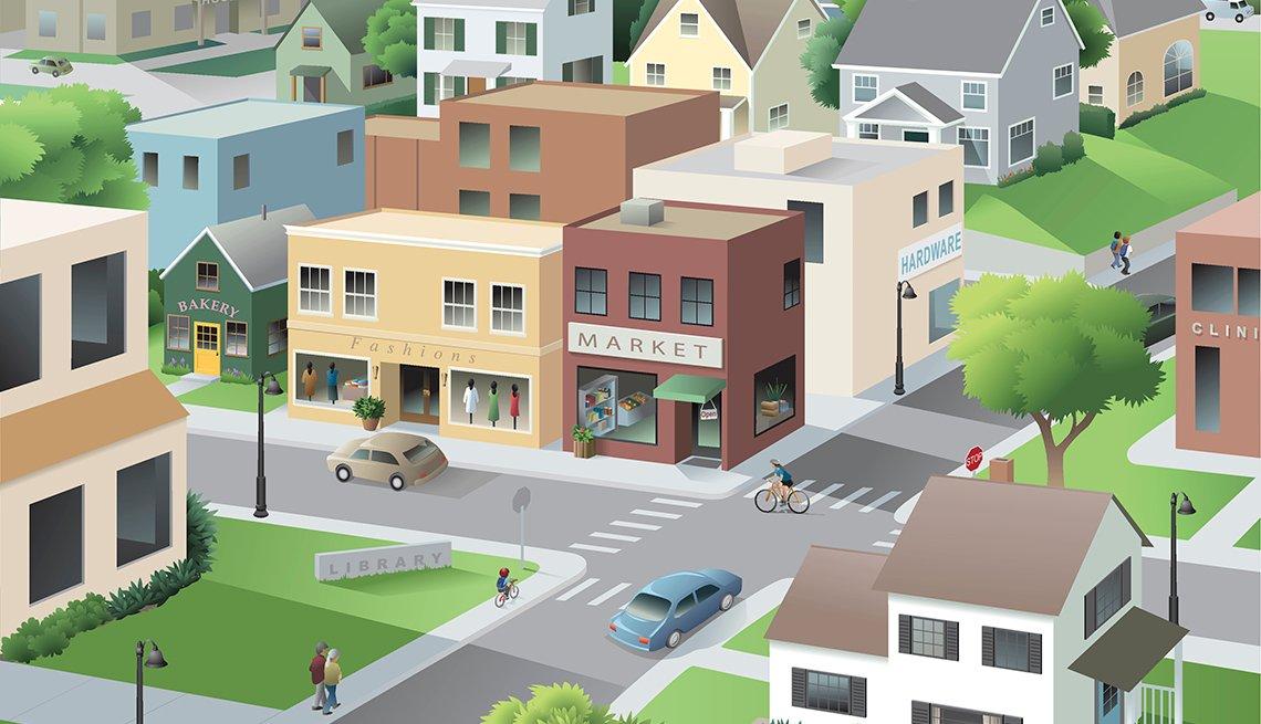 illustration, Main Street, AARP Livable Communities, Age-friendly network