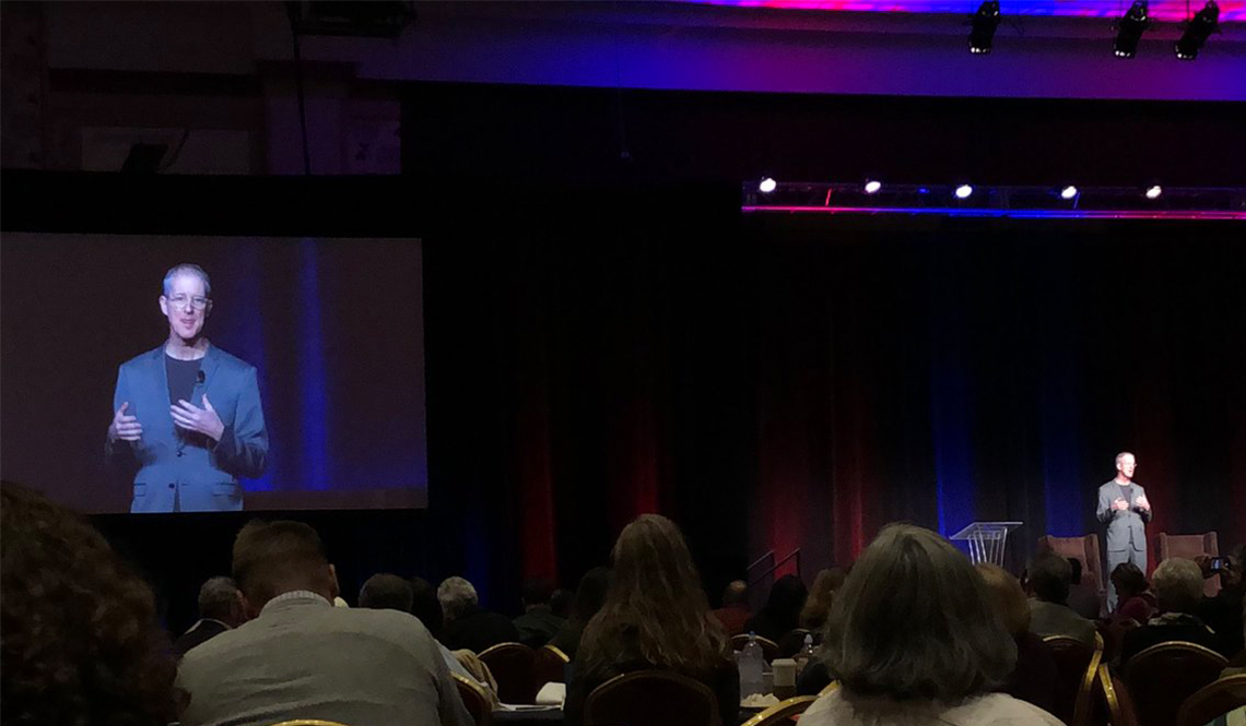Urban planner and walkability advocate Jeff Speck on stage at the 2017 AARP Livable Communities National Conference