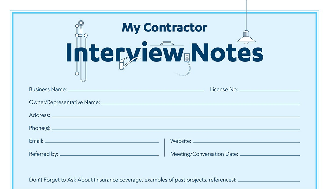 Worksheet, My Contractor Interview Notes, Livable Communities
