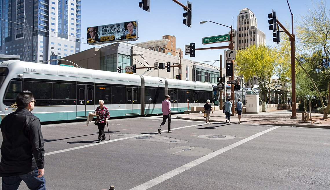 Street, Intersection, Traffic Light, Pedestrians, Crosswalk, Phoenix, Arizona, Streetcar, Public Transportation, AARP Livable Communications, Evaluating Complete Streets Projects