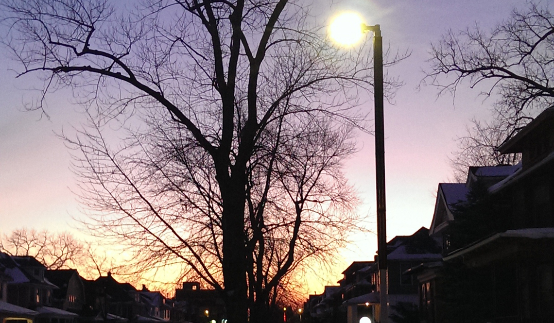A solar-powered street light in Highland Falls, Michigan