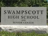 Sign at the entrance of Swampscott High School and Senior Center