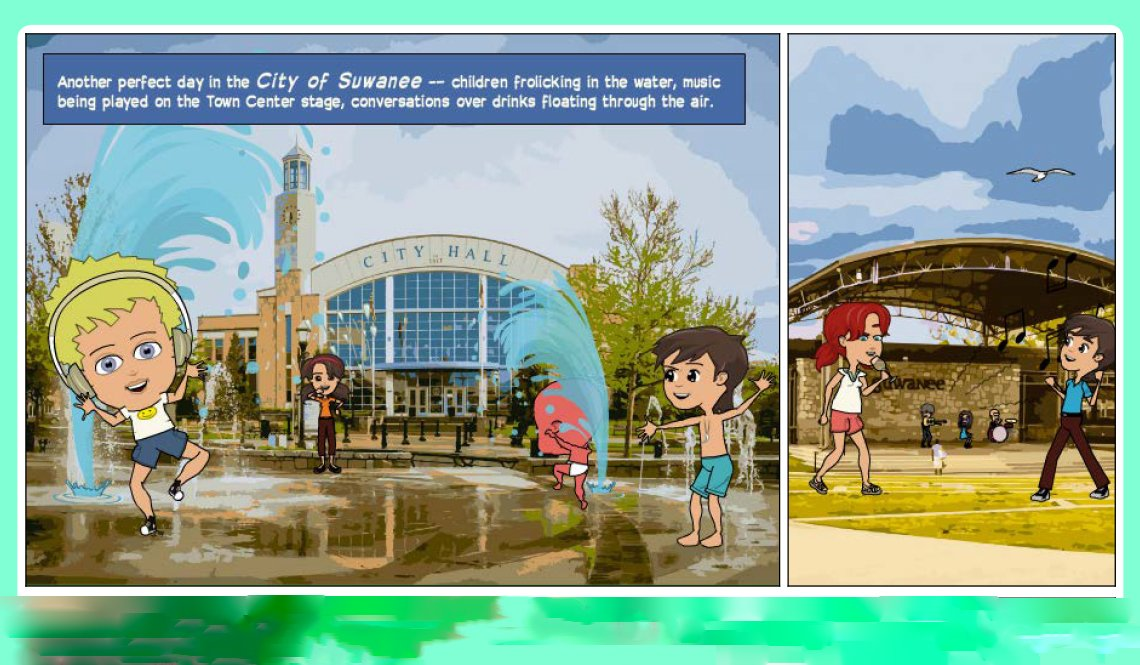 A scene from the comic book annual report by the City of Suwanee, Georgia
