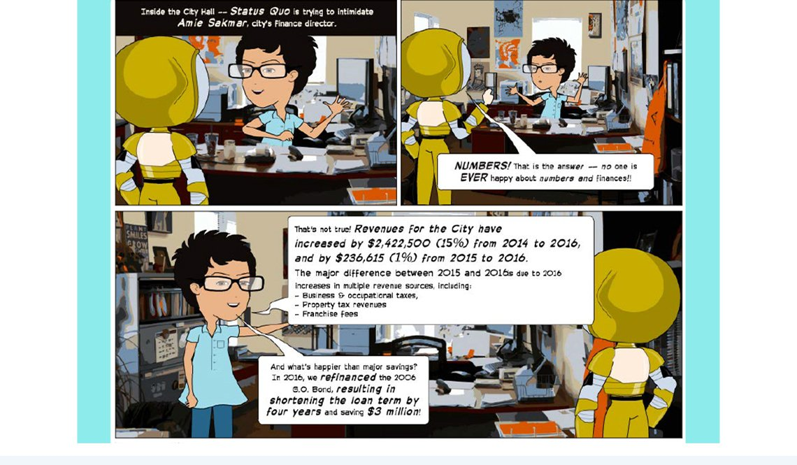 A scene from the comic-book style annual report from the City of Suwanee