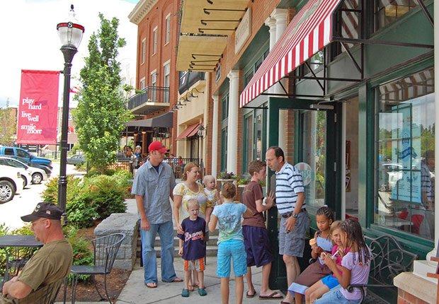 Busy ice cream shop, Livable Communities.